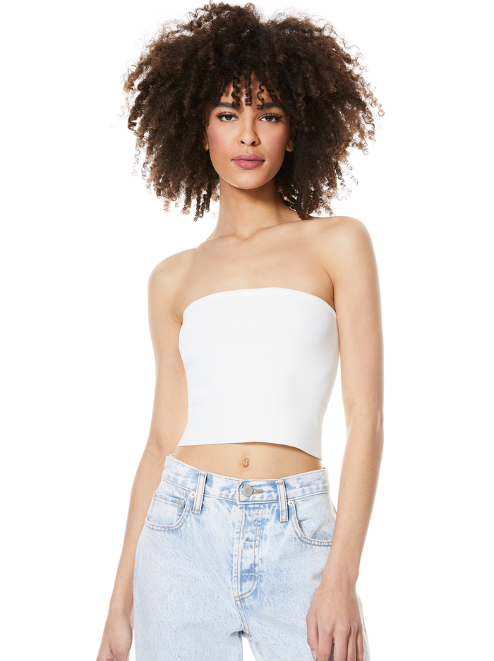 ALISON CROPPED TUBE TOP - SOFT WHITE - Alice And Olivia