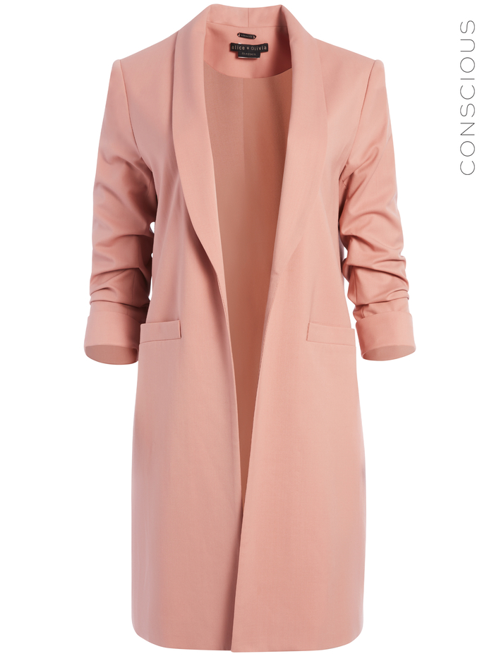 MURIEL SCRUNCHED SLEEVE BLAZER - ROSE TAN - Alice And Olivia