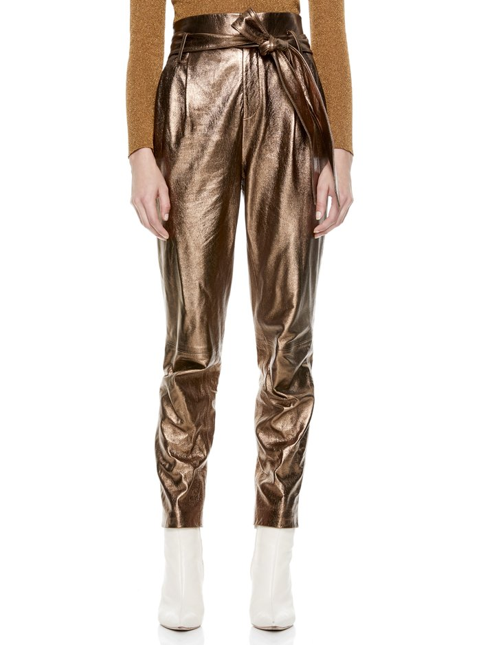 GABRIELLE METALLIC LEATHER PANT - METALLIC BRONZE - Alice And Olivia