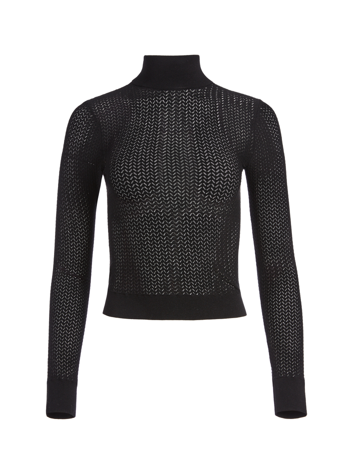 LANIE HIGH NECK PULLOVER - BLACK - Alice And Olivia