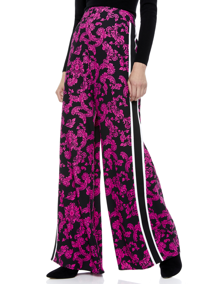 ATHENA FLORAL WIDE LEG PANT - SHOW ME LOVE SM WILD PINK - Alice And Olivia