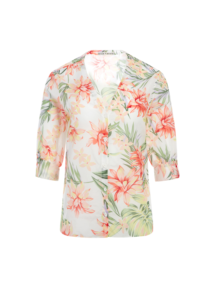 COLBY FLORAL BUTTON DOWN - HIBISCUS FLORAL - Alice And Olivia