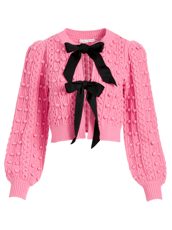 KITTY PUFF SLEEVE CARDIGAN - CALYPSO PINK/BLACK - Alice And Olivia