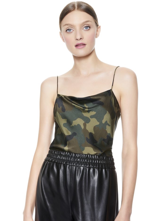 HARMON DRAPEY SLIP TANK - CAMO GIRL - Alice And Olivia