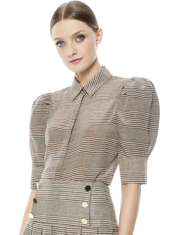 WILLA SCRUNCH SLEEVE TOP - AFTERGLOW PLAID - Alice And Olivia