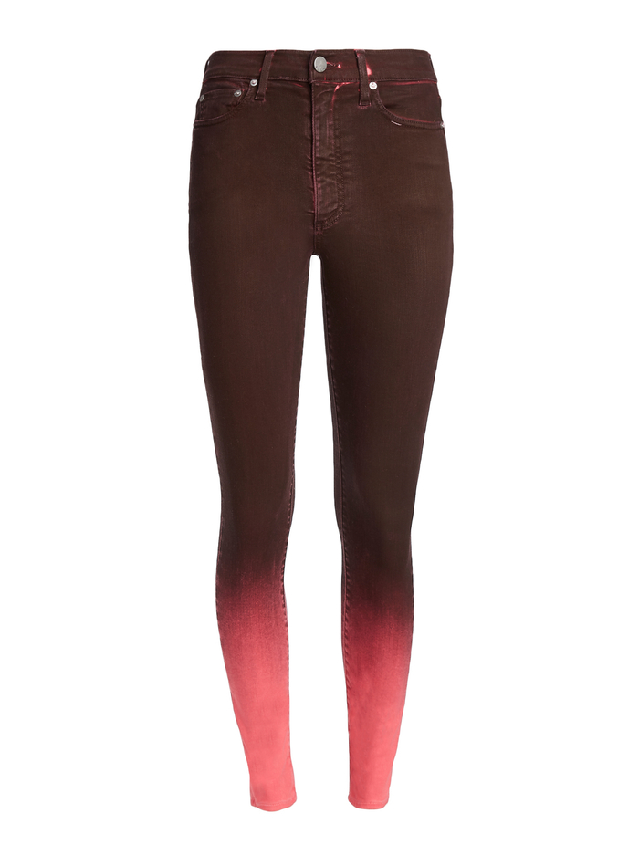 GOOD HIGH RISE ANKLE SKINNY JEAN - WINE/BUBBLEGUM - Alice And Olivia