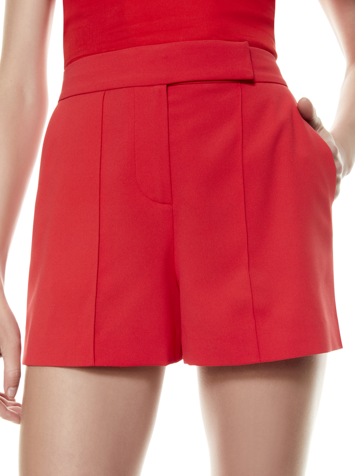 DYLAN HIGH WAISTED PINTUCK SHORT - BRIGHT POPPY - Alice And Olivia