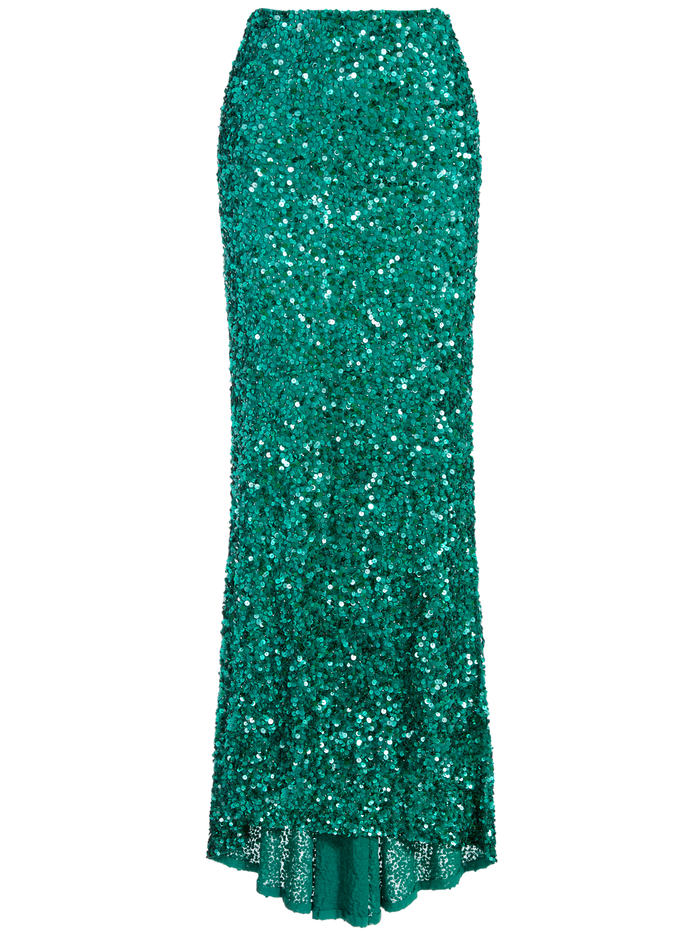 CHARITY SEQUIN GOWN SKIRT - DARK TEAL - Alice And Olivia