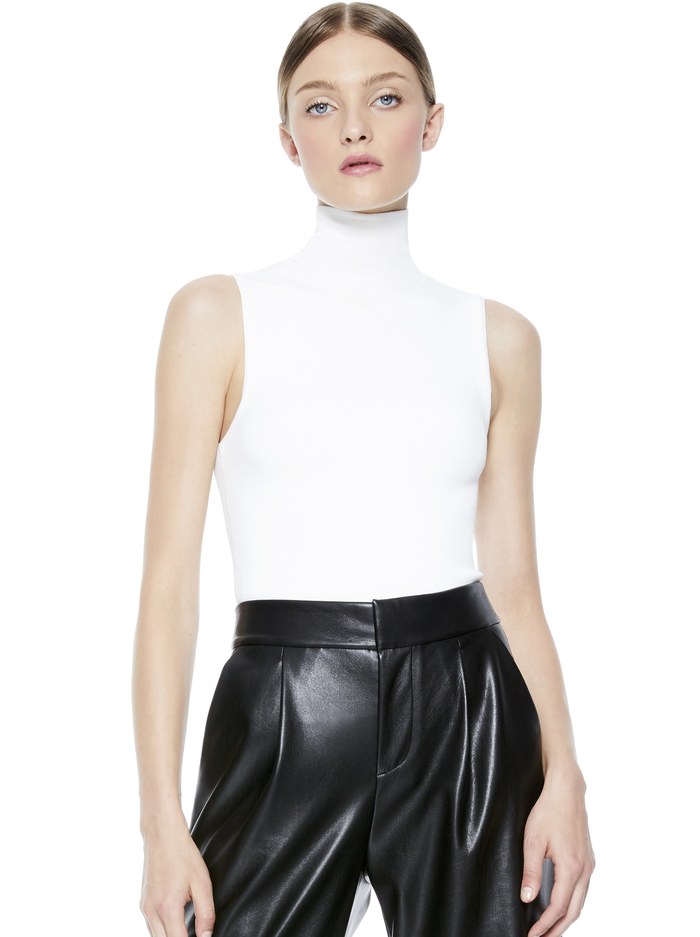 DARINA FITTED MOCK NECK TANK - SOFT WHITE - Alice And Olivia