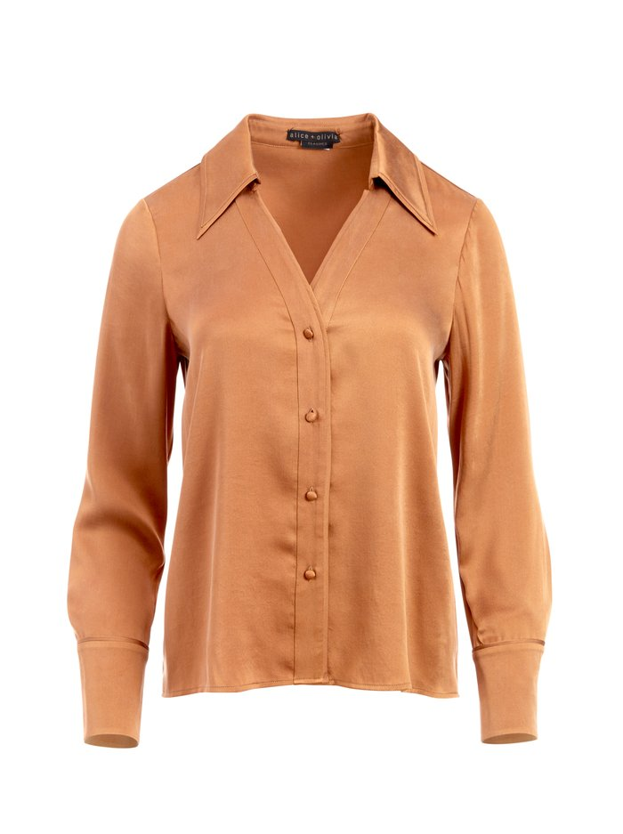 HOPE BUTTON DOWN BLOUSE - CAMEL - Alice And Olivia