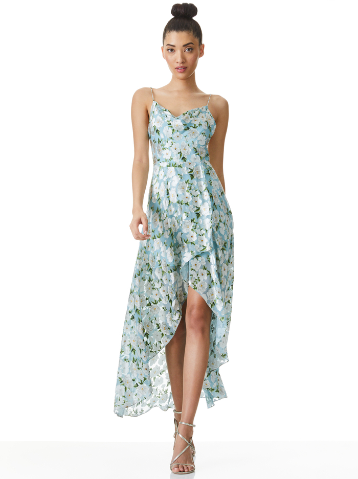 CHRISTINA HIGH LOW MIDI DRESS - FORGET ME NOT POWDER BLUE - Alice And Olivia