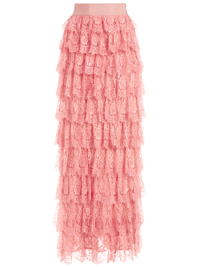 ELLA LACE TIERED MAXI GOWN SKIRT - ROSE - Alice And Olivia