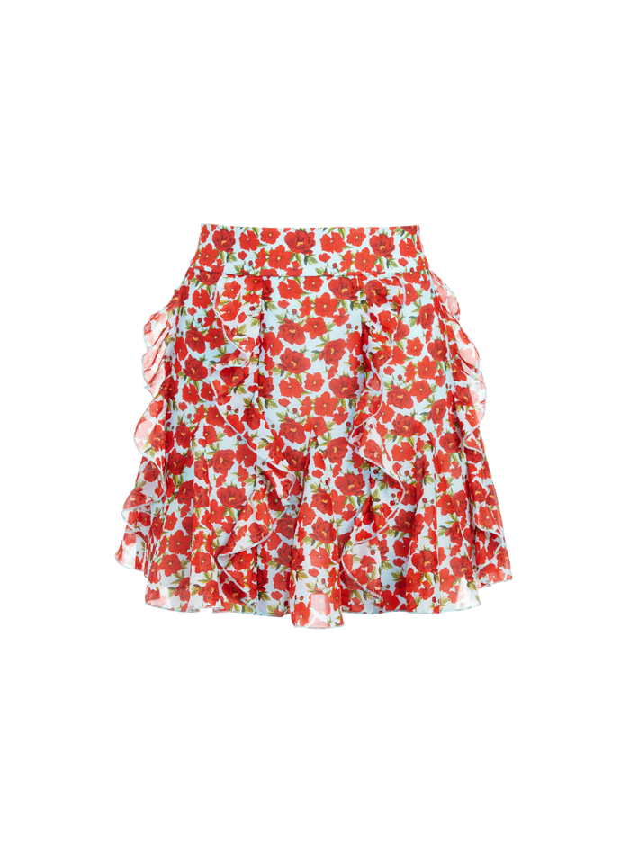 SHERLEY FLORAL MINI SKIRT - FORGET ME NOT SM BRIGHT POPPY - Alice And Olivia