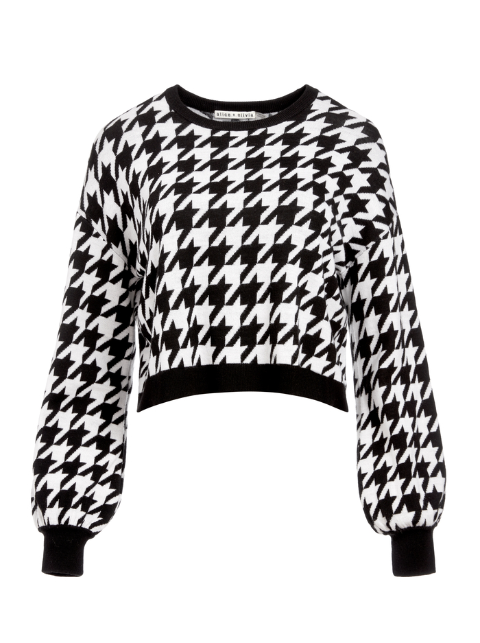 ANSLEY HOUNDSTOOTH PULLOVER - BLACK/WHITE - Alice And Olivia