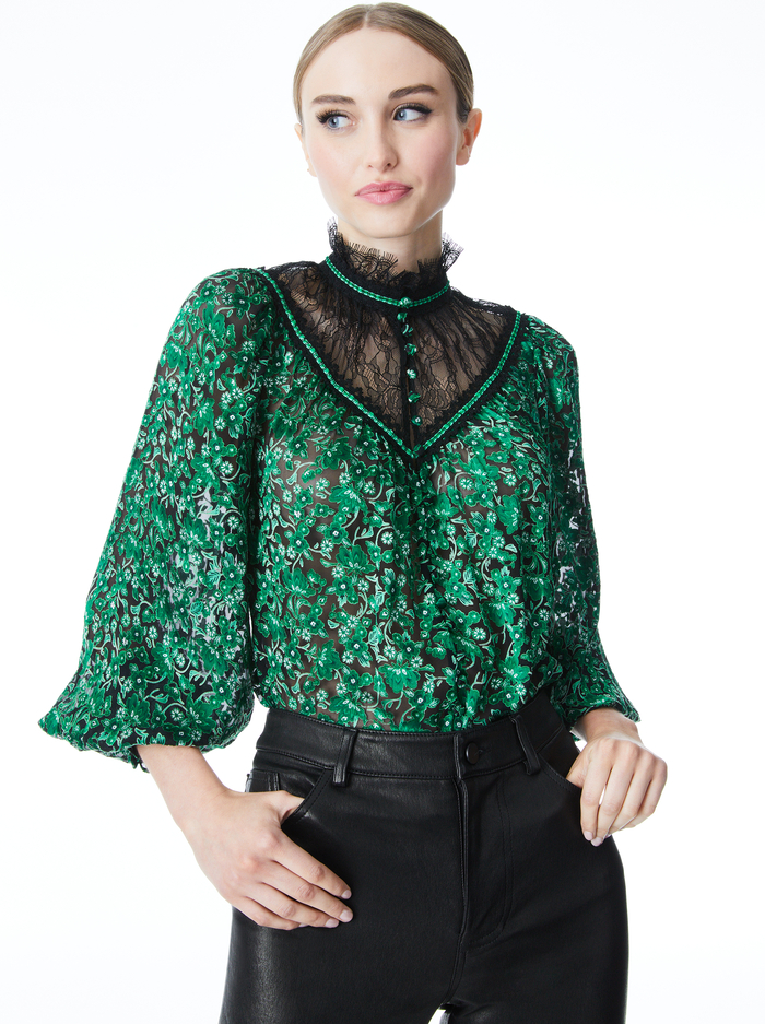 CLARICE FLORAL BLOUSE - MAKING PLANS DARK EMERALD/BLK - Alice And Olivia