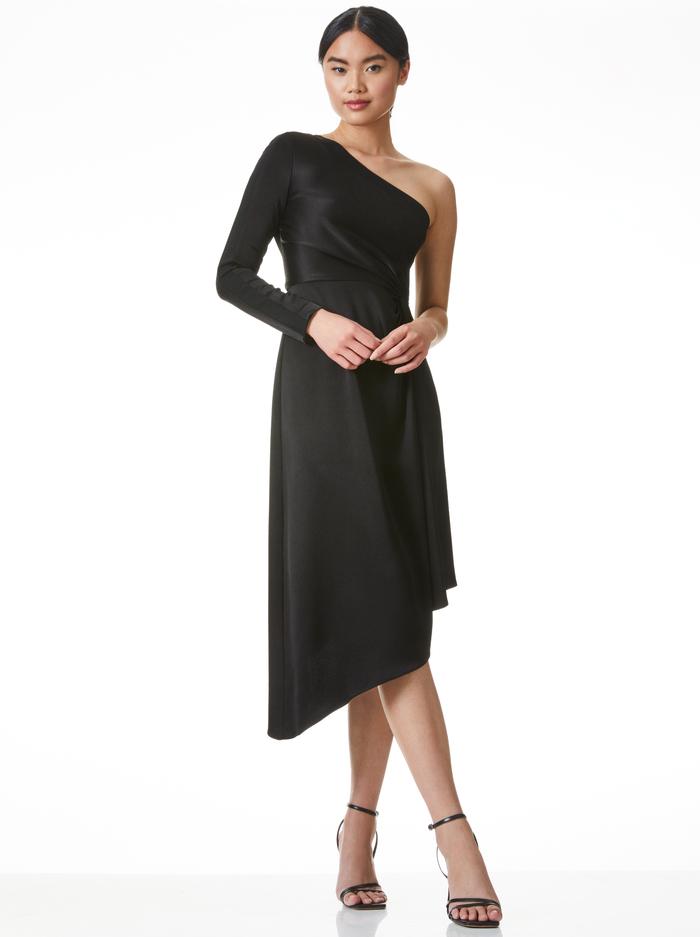 DORA ASYMMETRICAL OFF THE SHOULDER DRESS - BLACK - Alice And Olivia