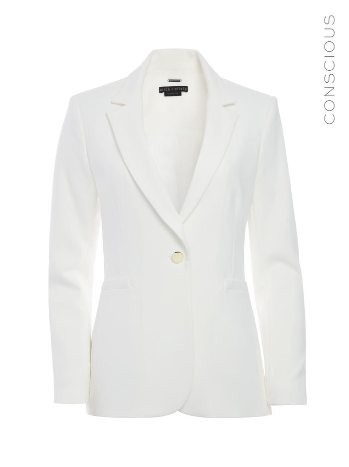 BRISTOL NOTCH COLLAR FITTED BLAZER - OFF WHITE - Alice And Olivia