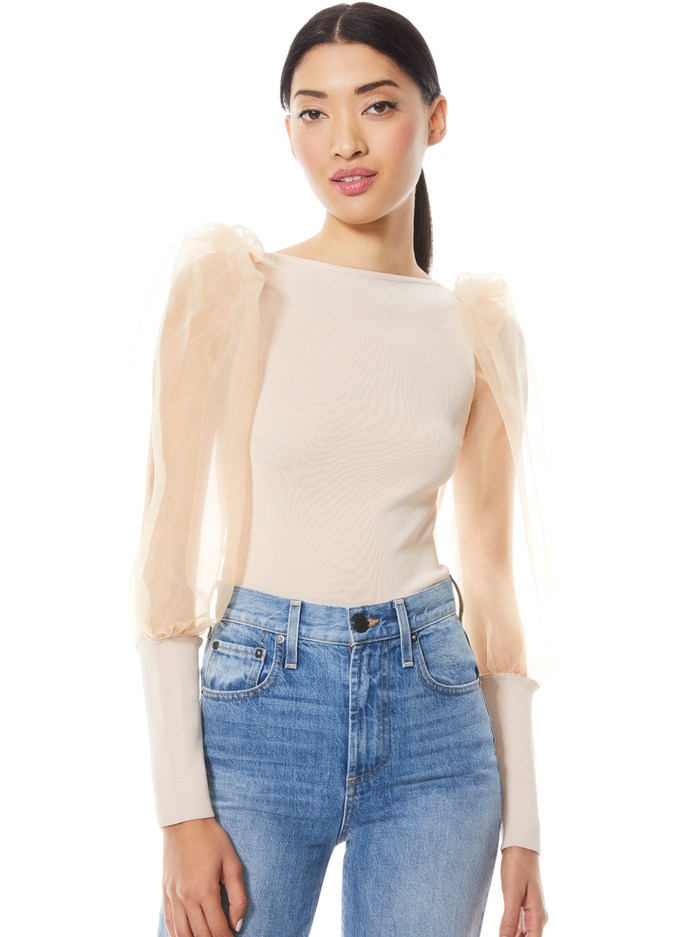 ABELLA PUFF SLEEVE CROP TOP - SEPIA - Alice And Olivia