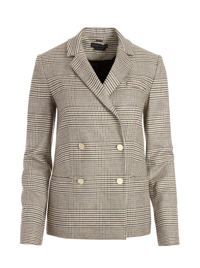 BERGEN DOUBLE BREASTED BLAZER - AFTERGLOW PLAID - Alice And Olivia