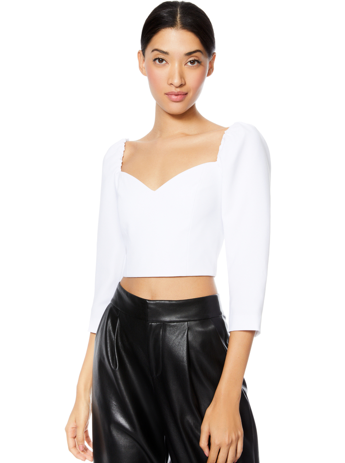 SOLANGE PUFF SLEEVE CROP TOP - WHITE - Alice And Olivia