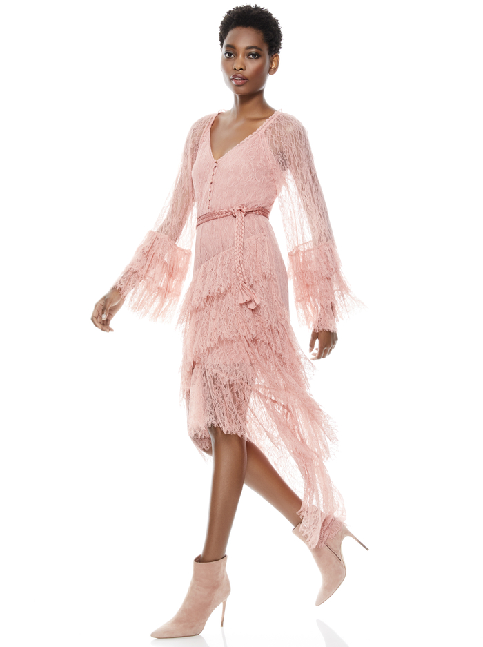 ONICA ASYMMETRICAL LACE DRESS - ROSE - Alice And Olivia