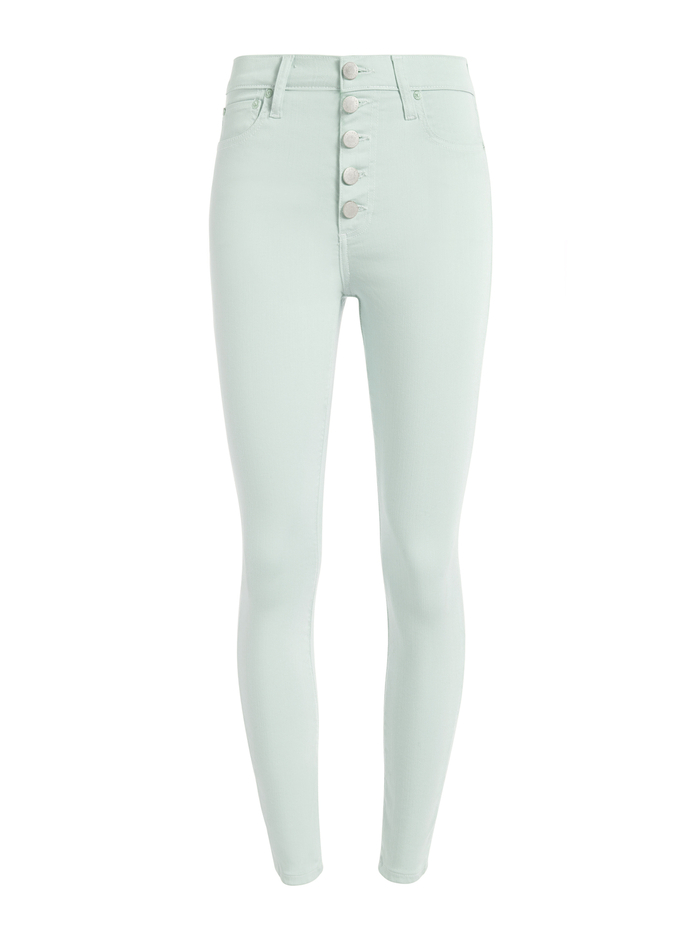 GOOD HIGH RISE EXPOSED BUTTON JEAN - MINT - Alice And Olivia