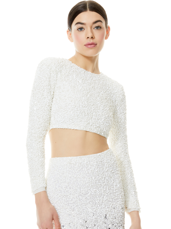 LACEY SEQUIN CROP TOP - OFF WHITE - Alice And Olivia