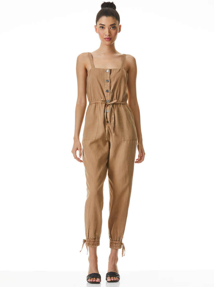 TIANA BUTTON FRONT JUMPSUIT - TAN - Alice And Olivia