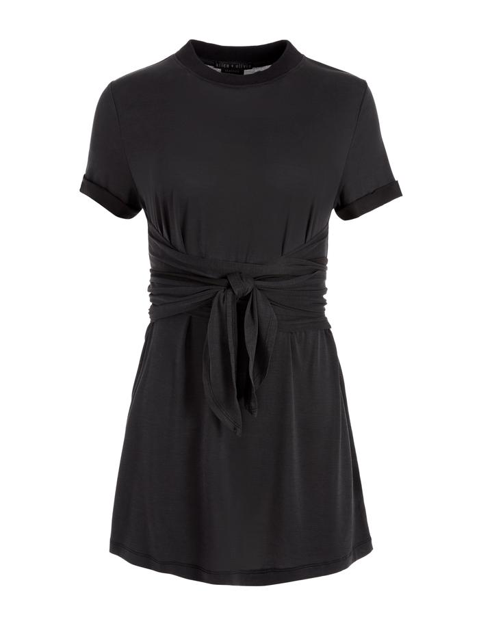 JASSET TIE FRONT MINI DRESS - BLACK - Alice And Olivia