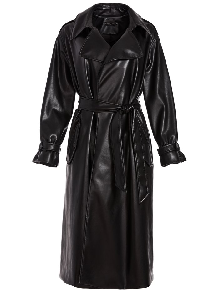 NEVADA VEGAN LEATHER COAT - BLACK - Alice And Olivia