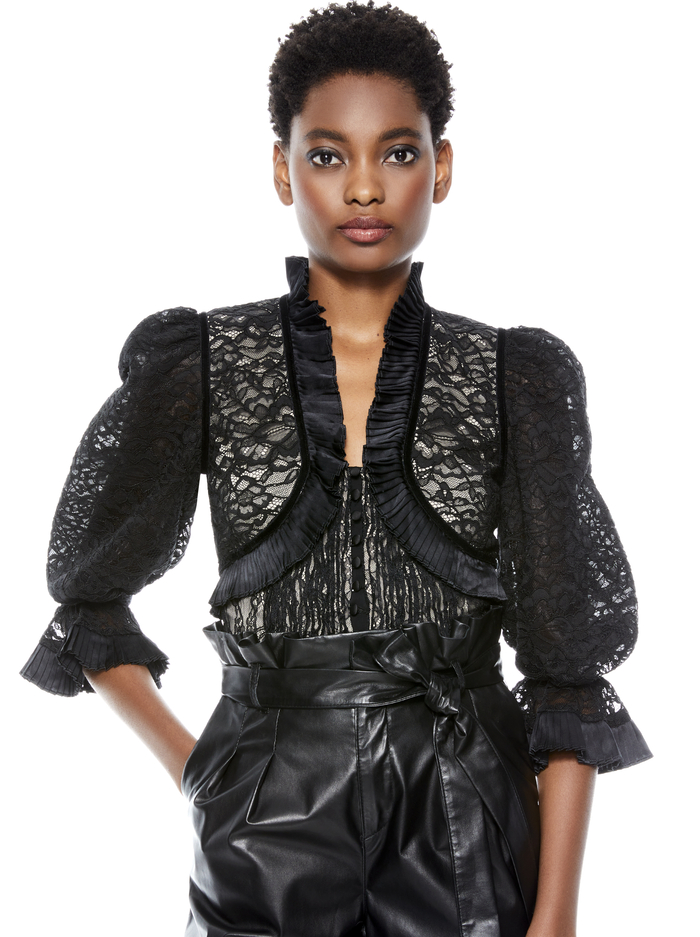 KINGSTON CROPPED LACE BLOUSE - BLACK - Alice And Olivia