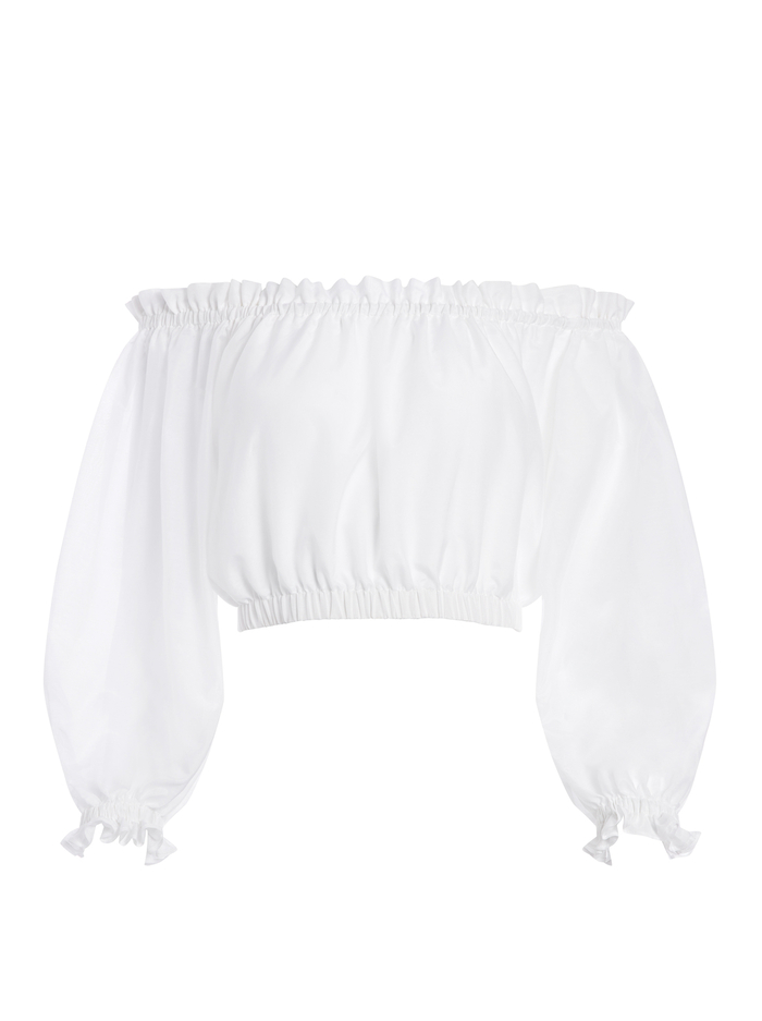 OLGA OFF THE SHOULDER CROP TOP - WHITE - Alice And Olivia