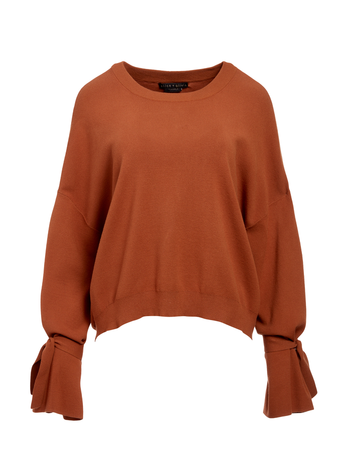 LEIGHTON TIE CUFF PULLOVER - CAMEL - Alice And Olivia