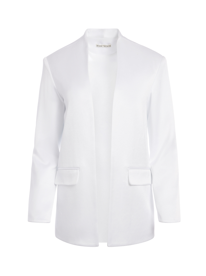 JETTA STRONG SHOULDER JACKET - WHITE - Alice And Olivia