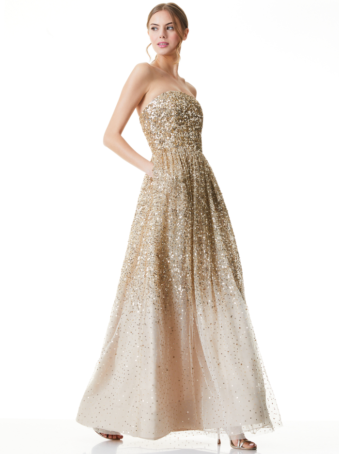DAISY SEQUIN STRAPLESS GOWN - PALE GOLD - Alice And Olivia