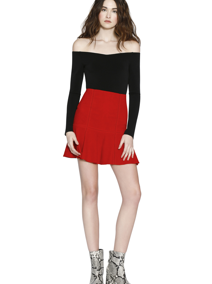 DELMA SUEDE FIT AND FLARE SKIRT - PERFECT POPPY - Alice And Olivia