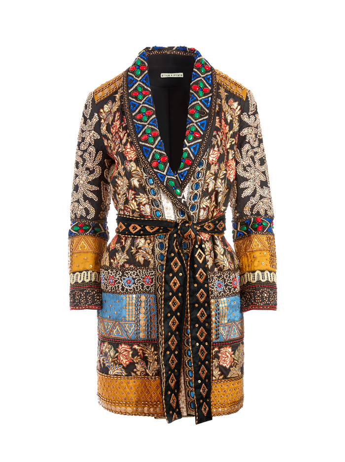 WHEATON PATCHWORK BLAZER - MULTI - Alice And Olivia