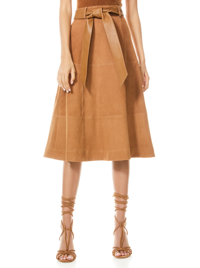 MARTINE BELTED SUEDE MIDI SKIRT - CAMEL - Alice And Olivia