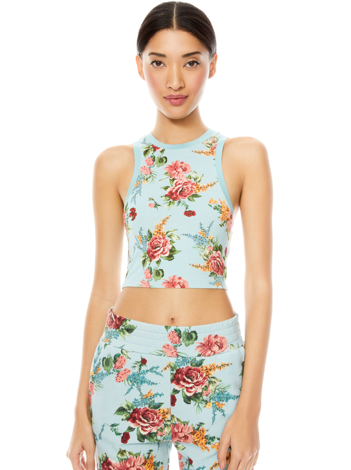 MELVA FLORAL RACERBACK CROP TOP - FLORAL EXPRESS SM WATERFALL - Alice And Olivia