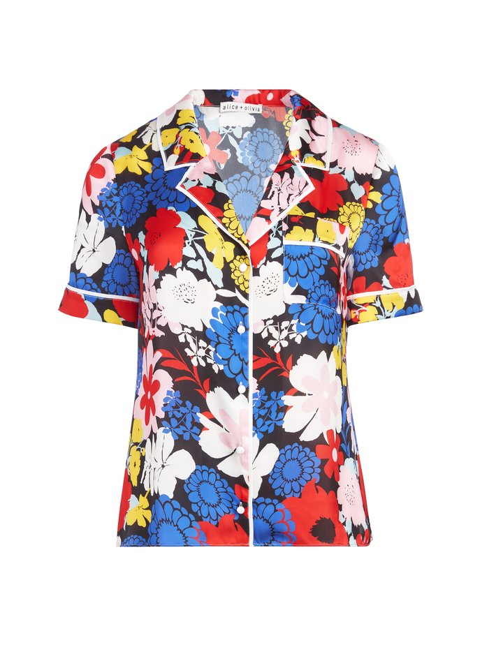 RAMONA PIPED BUTTON DOWN TOP - ONE LOVE FLORAL SM - Alice And Olivia