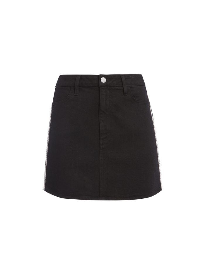 GOOD HIGH RISE CRYSTAL MINI SKIRT - NIGHT FEVER - Alice And Olivia