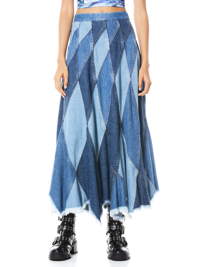 PIERRE PATCHWORK MIDI SKIRT - HAPPY GO LUCKY - Alice And Olivia