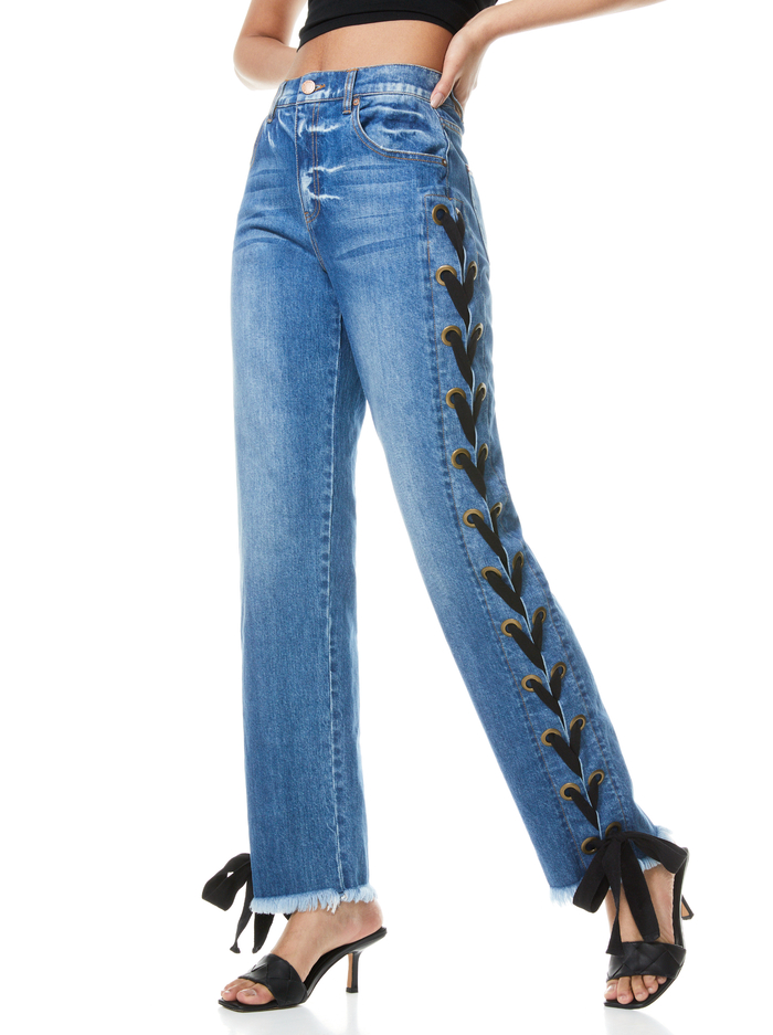 SHAYNE LACE UP RIBBON JEAN - BEST INTENTIONS/BLK - Alice And Olivia
