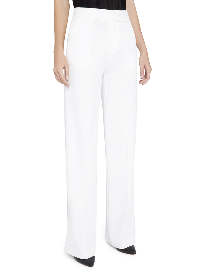 DYLAN HIGH WAISTED WIDE LEG PANT - WHITE - Alice And Olivia
