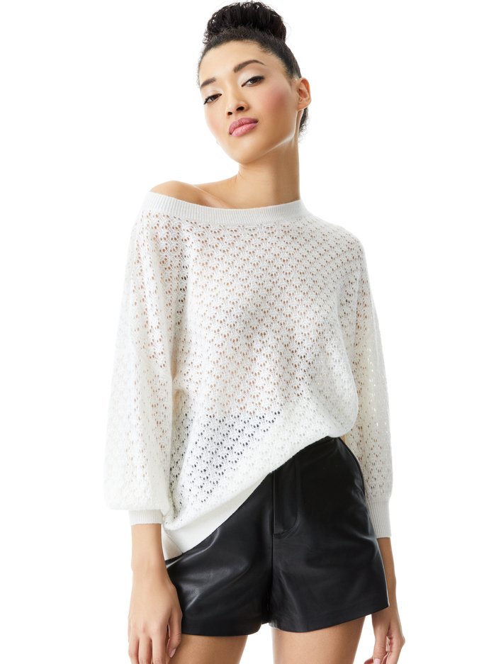 SAFFI POINTELLE PULLOVER - SOFT WHITE - Alice And Olivia