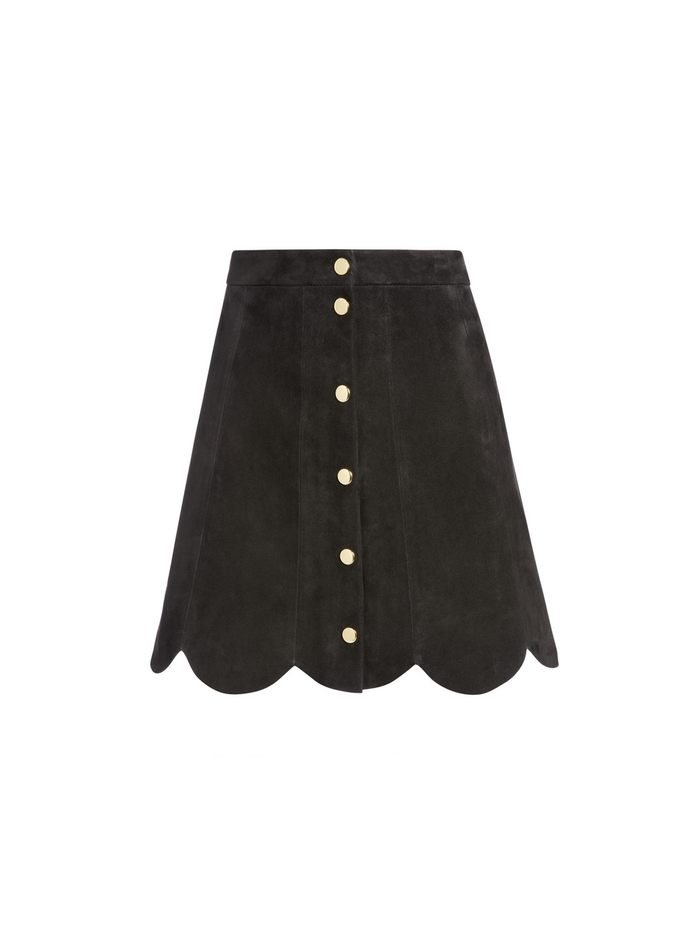RUDIE SUEDE SCALLOP MINI SKIRT - BLACK - Alice And Olivia