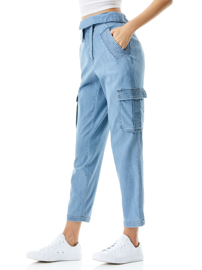 CHAD ASYMMETRICAL WAIST CARGO PANT - LIGHT CHAMBRAY - Alice And Olivia