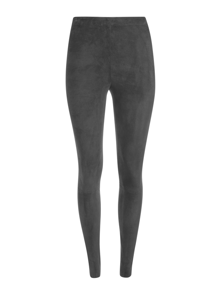 MADDOX SIDE ZIP SUEDE LEGGING - CHARCOAL - Alice And Olivia