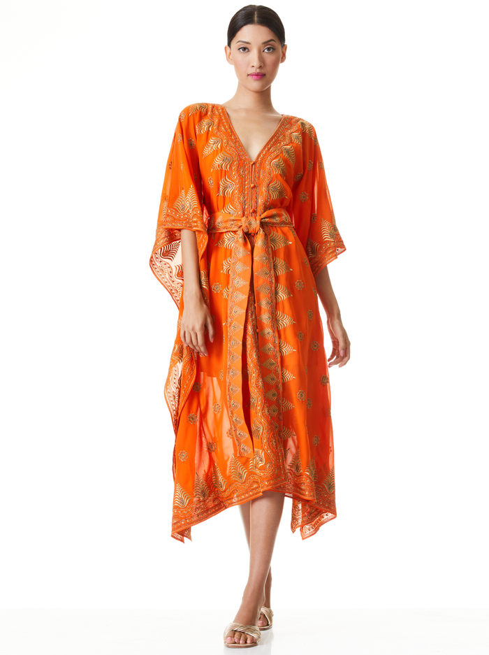 MARVA EMBROIDERED CAFTAN DRESS - SIENNA/GOLD - Alice And Olivia
