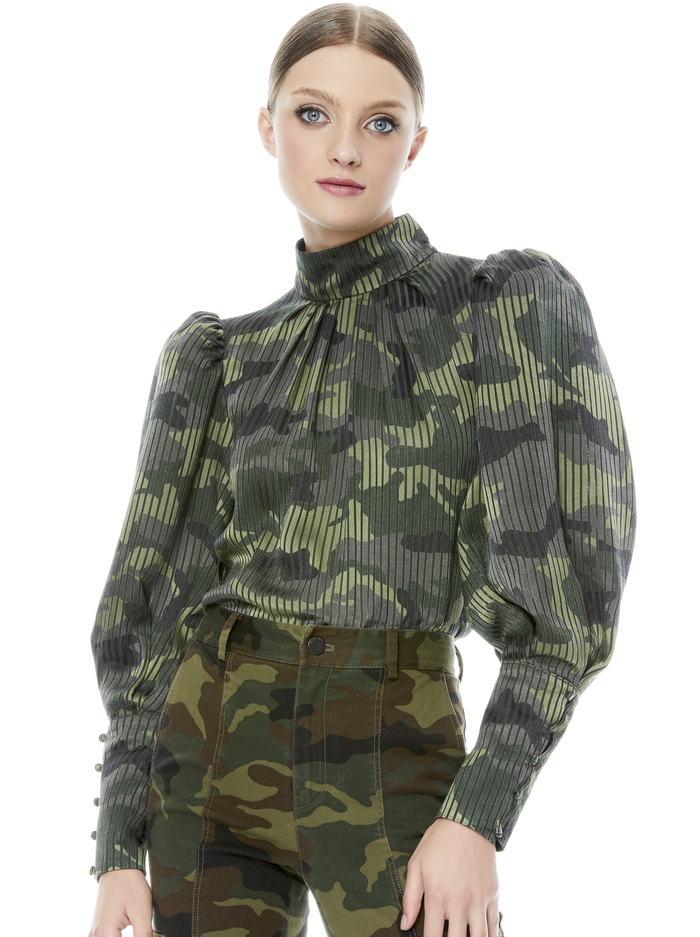 WINSLET LG CUFF TUNIC BLOUSE - CAMO GIRL - Alice And Olivia